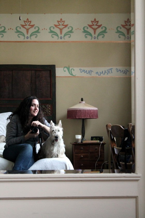 me and Uilleam in our room at McMenamins - they are pet friendly :)